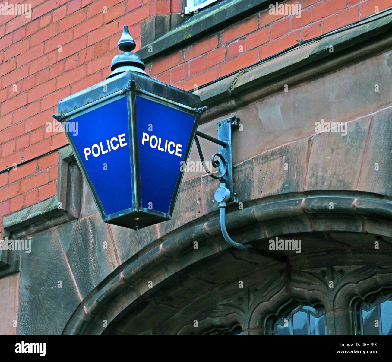 Blue Police Station Lamp, Stockton Heath Police Station, South Warrington, Cheshire, North West England, UK - Stock Image