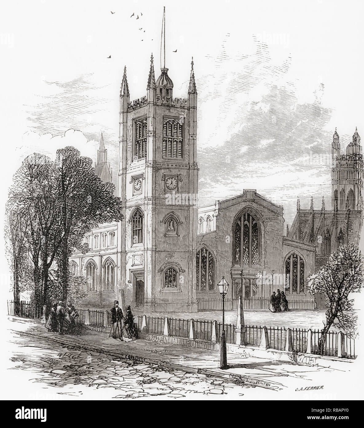 The Church of St Margaret, Westminster Abbey, in the grounds of Westminster Abbey on Parliament Square, London, England, seen here in the 19th century.  From London Pictures, published 1890 Stock Photo