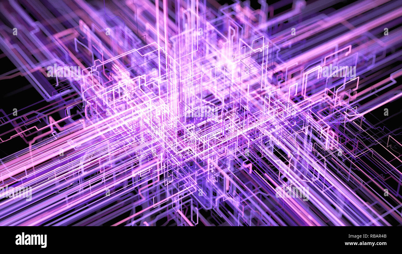 Digital Connectivity, Artificial Intelligence And Data Storage Concept. Modern Electronic Circuit Board, Conductors And Neural Signals Stock Photo