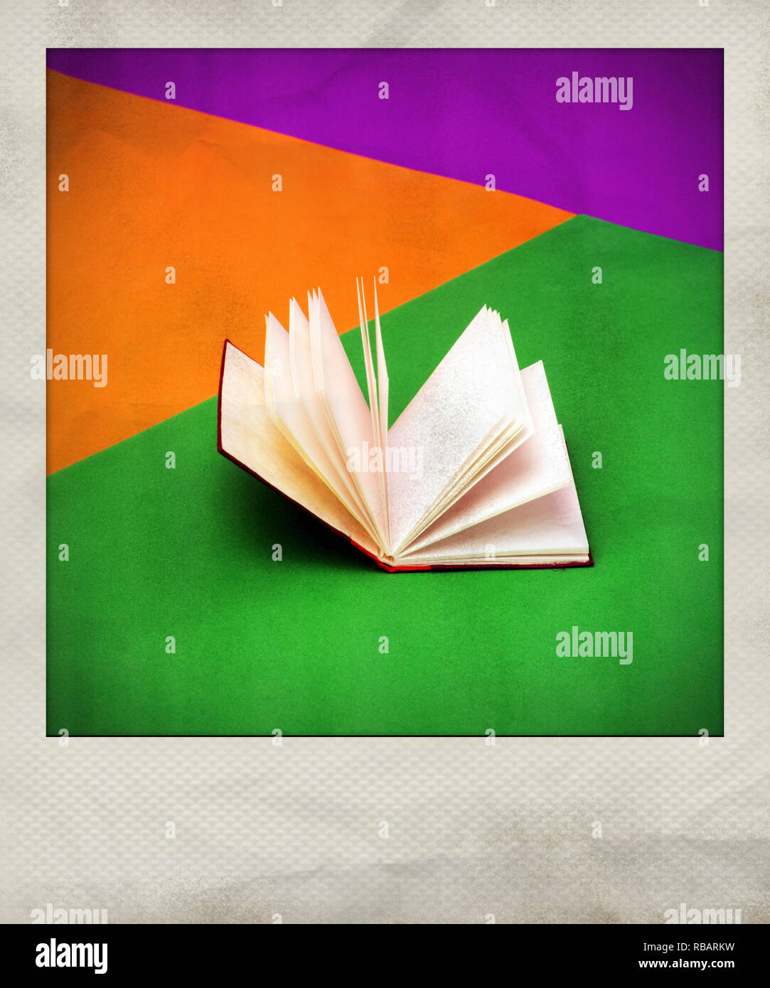 Polaroid effect of book - Stock Image