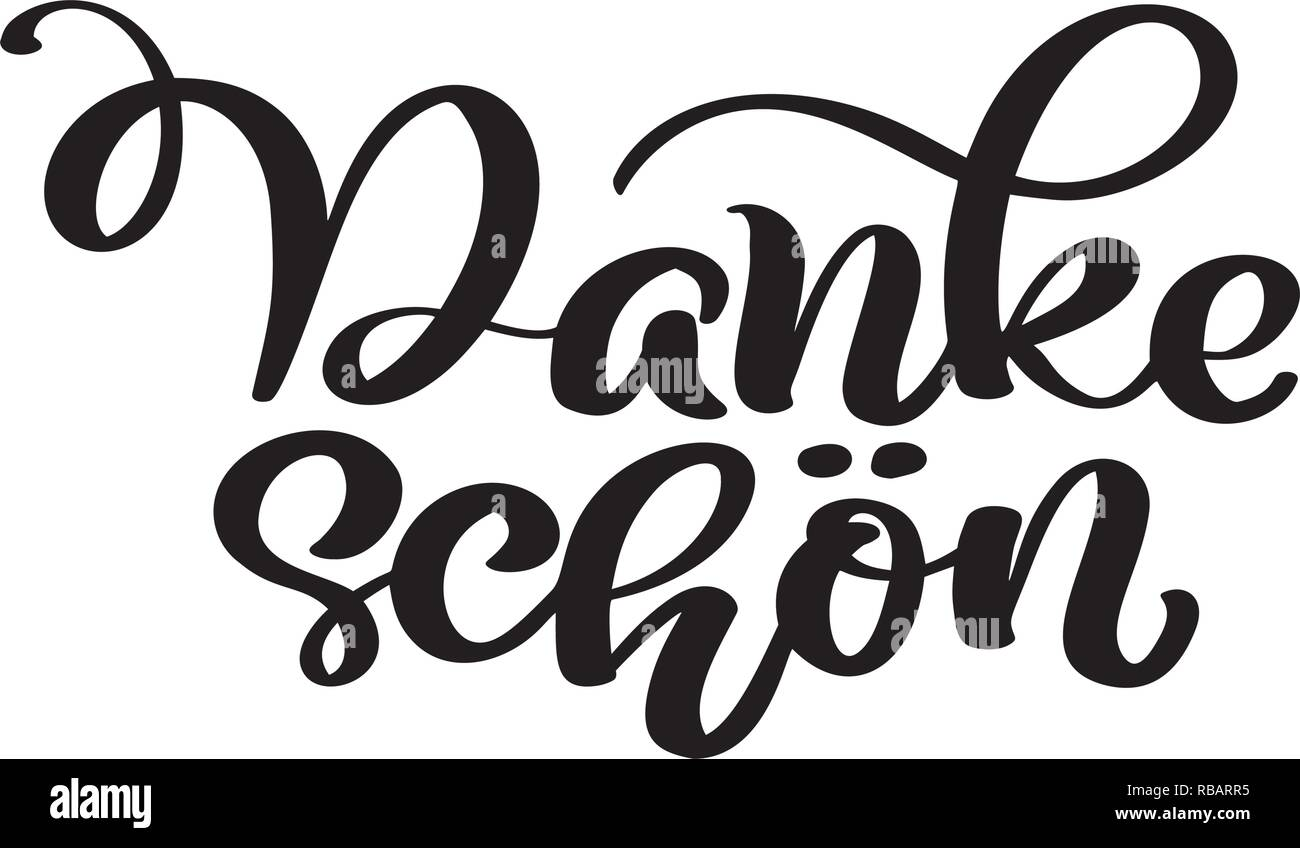 Vector hand drawn lettering Danke Schon. Elegant modern handwritten calligraphy with thankful quote. Thank you Deutsch Ink illustration. Typography poster on white background. For cards, invitations, prints etc Stock Vector