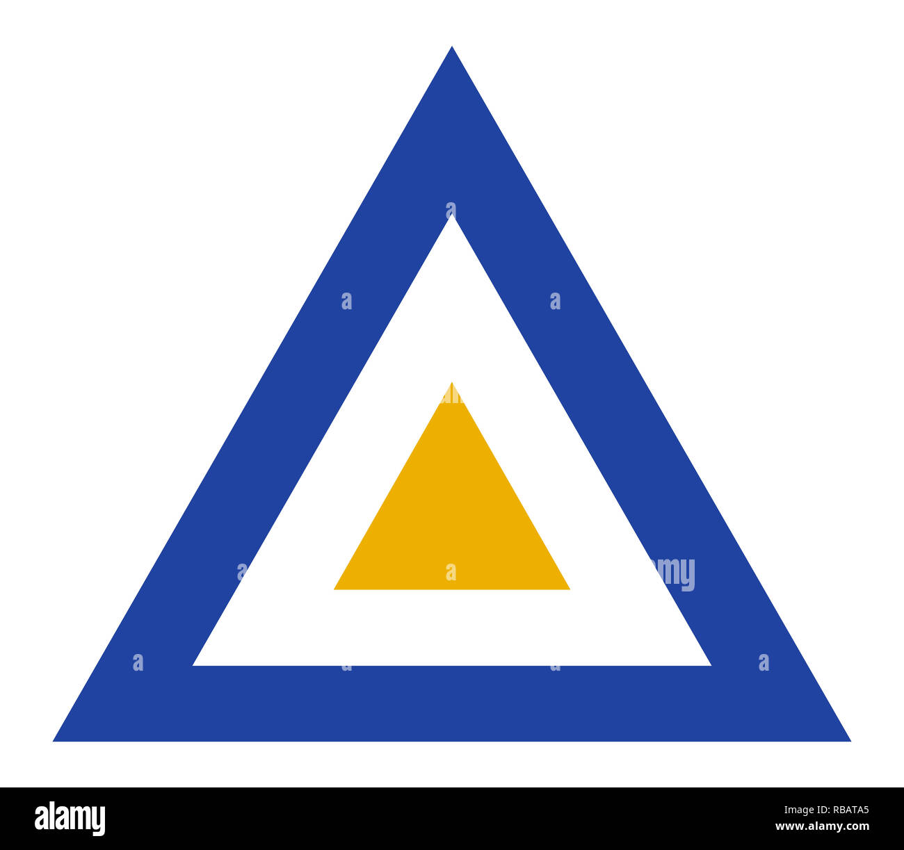 Myanmar country roundel flag based triangle symbol - Stock Image