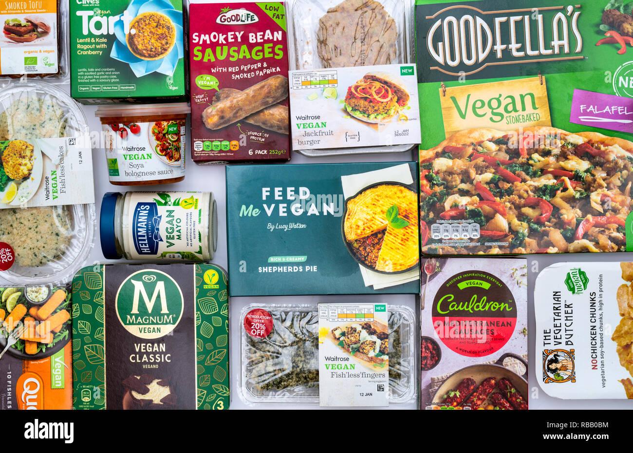 Vegan products packaging pattern. UK - Stock Image