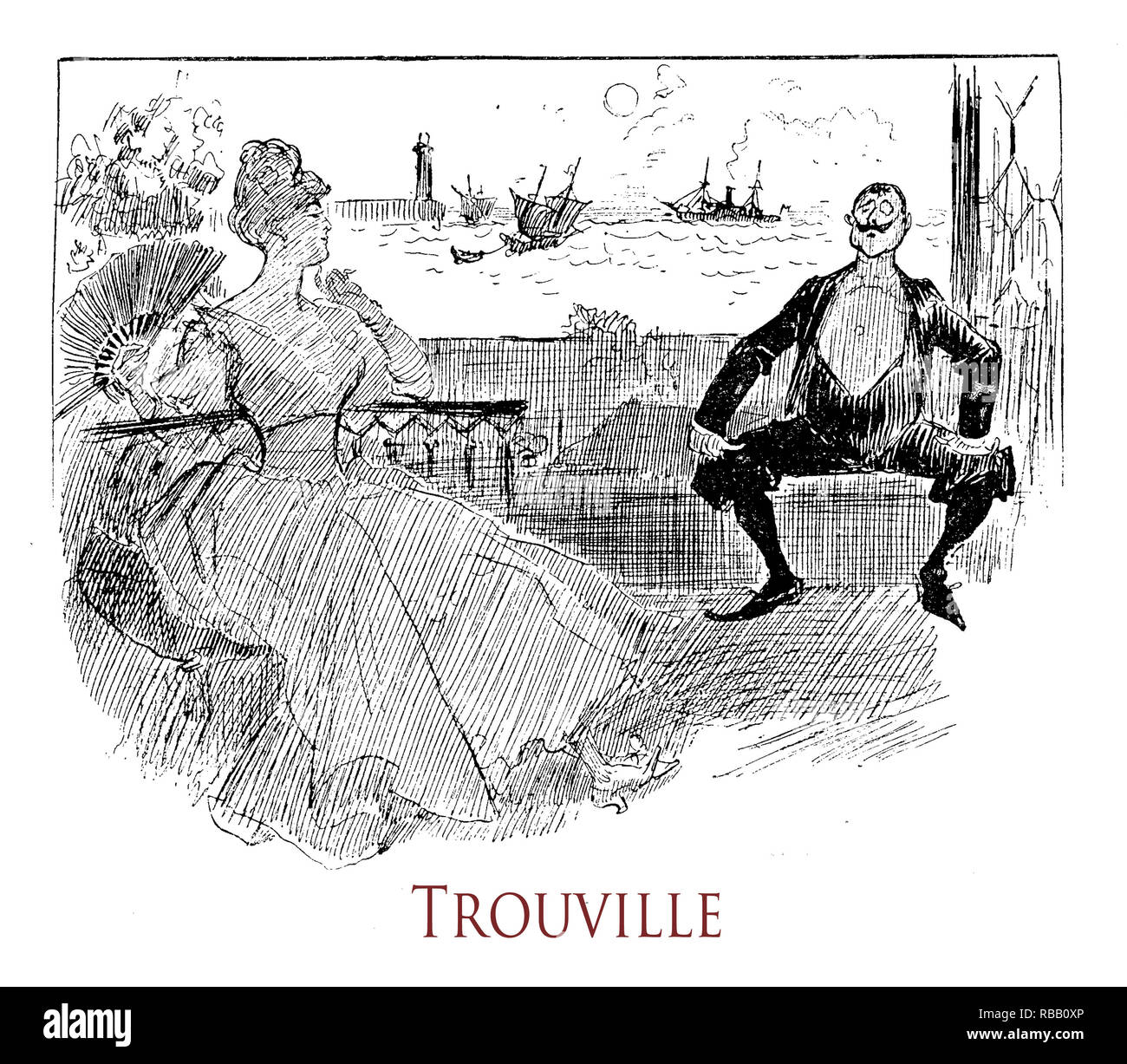 Vintage humor and fun:summer vacation of a fashionable couple  on the sea at Trouville on the Normandy coast. 'La vie Parisienne' French satirical magazine, year 1888 - Stock Image