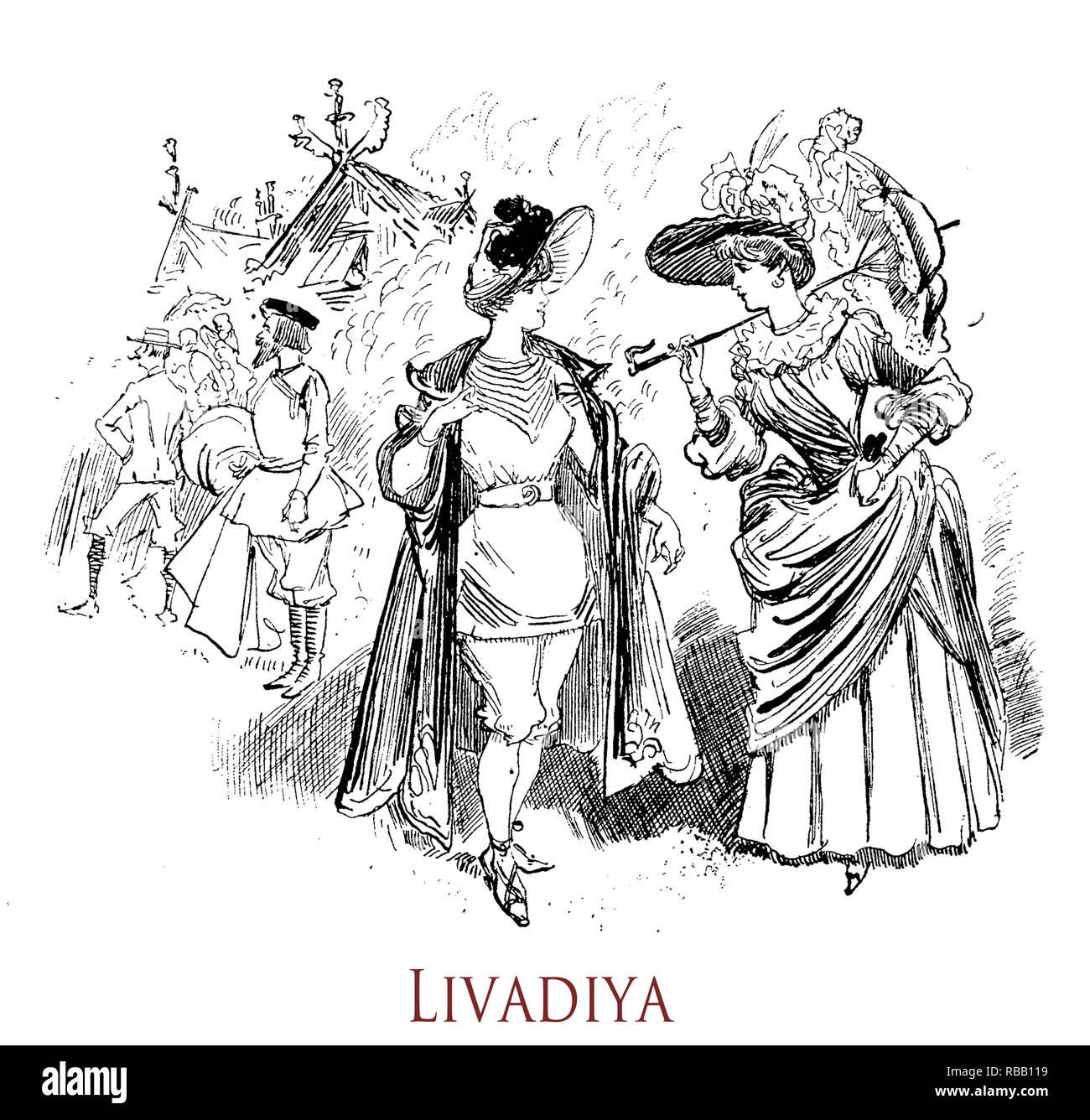Vintage humor and fun: summer vacation on the sea at Livadiya, Crimea. 'La vie Parisienne' French satirical magazine, year 1888 - Stock Image