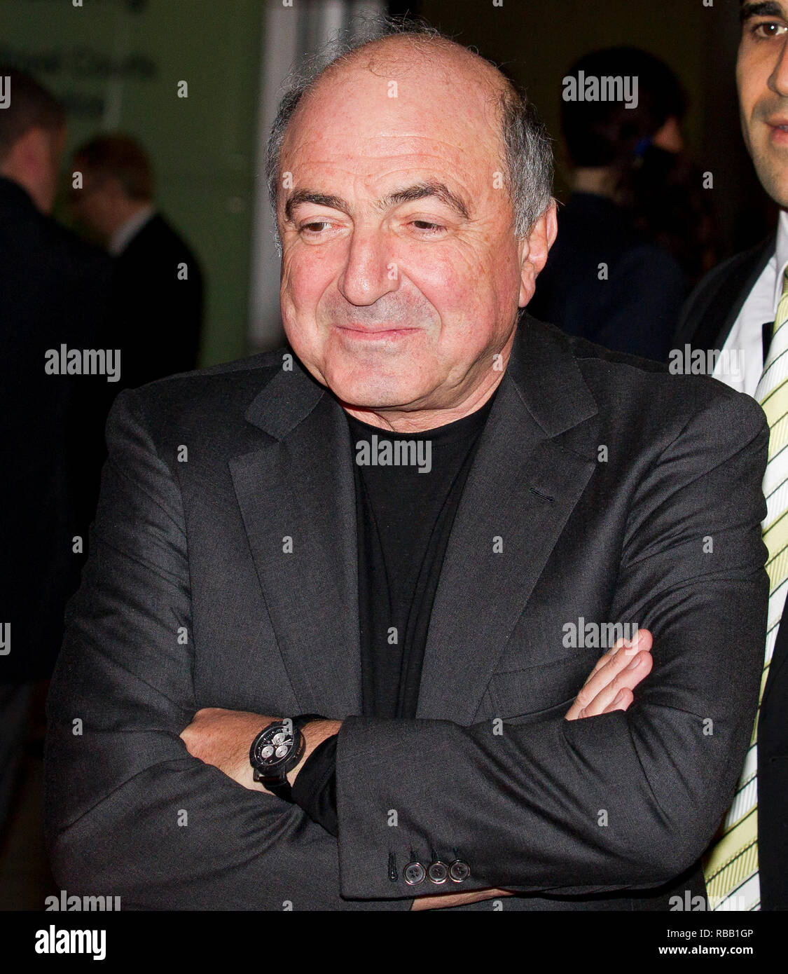 Russian oligarch Boris Berezovsky leaves the High Court on Nov 14, 2011 in London, during a legal battle with fellow tycoon Roman Abramovich. - Stock Image