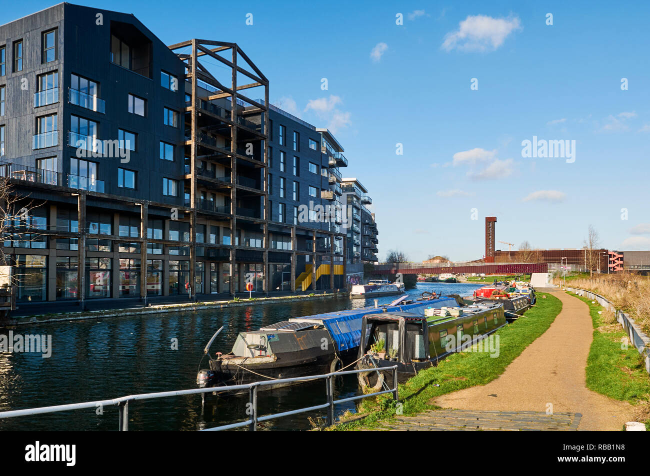 New apartments on the River Lea south of Hackney Wick, East London UK - Stock Image