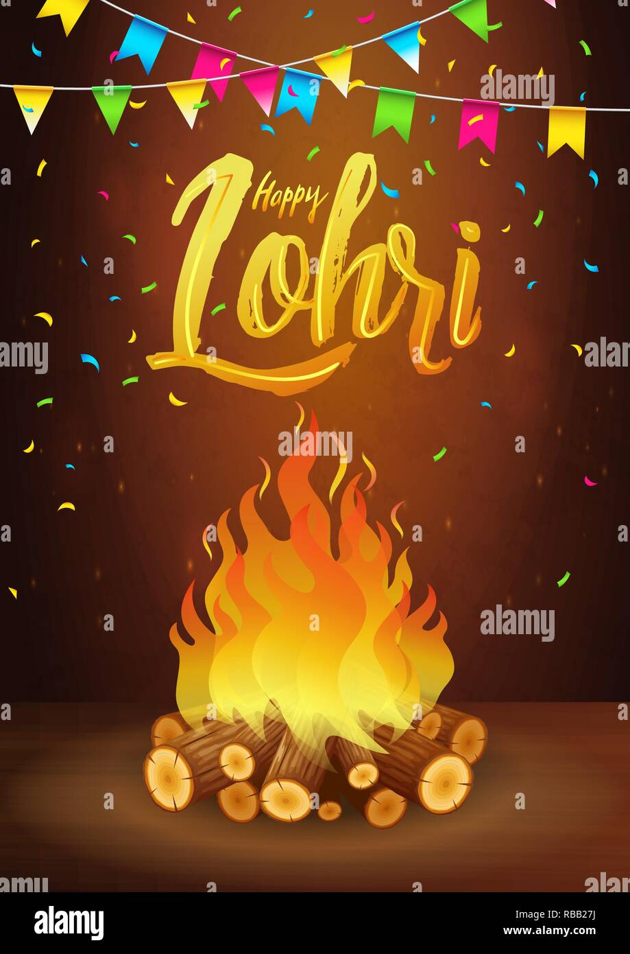 Happy Lohri banner, greeting card, Punjabi festival celebration - Stock Vector