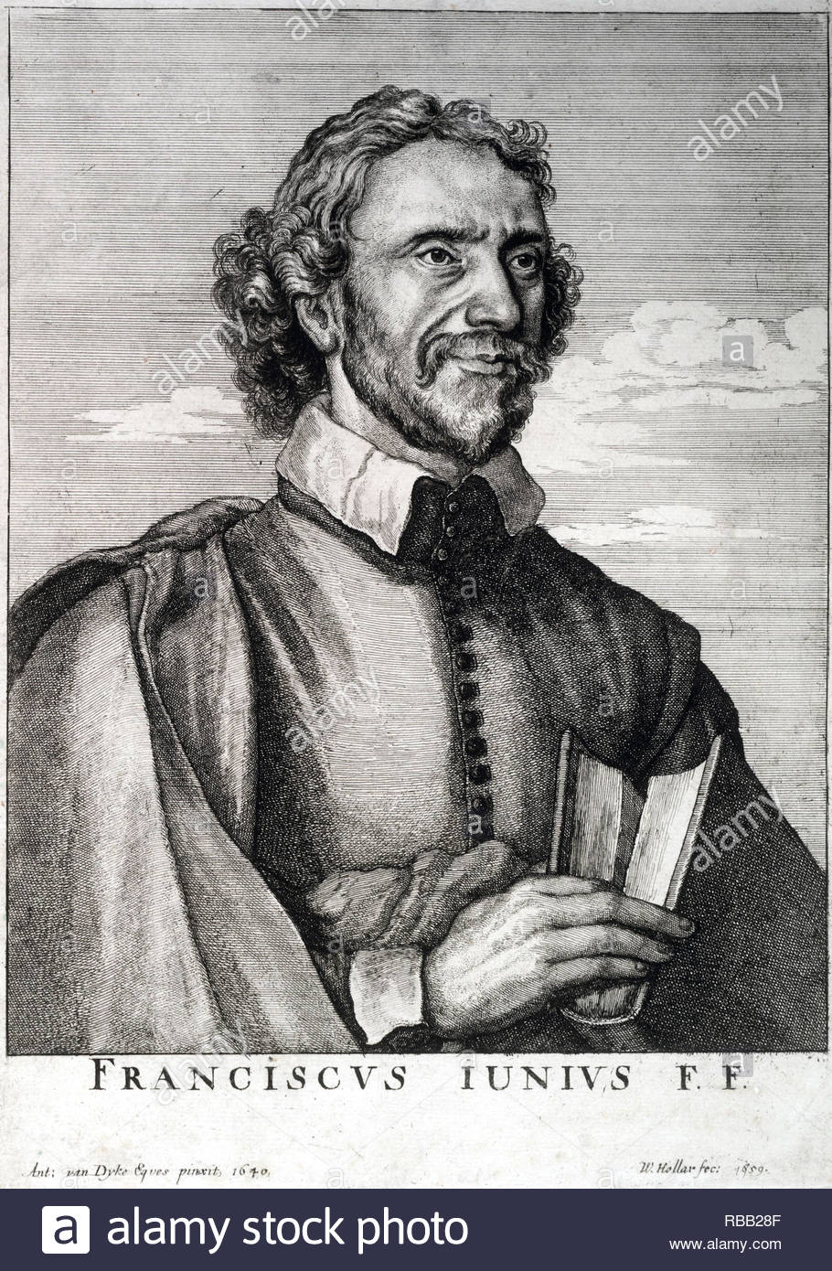 Franciscus Junius the Elder (born François du Jon, 1 May 1545 – 13 October 1602) was a Reformed scholar, Protestant reformer and theologian, etching by Bohemian etcher Wenceslaus Hollar from 1659 - Stock Image
