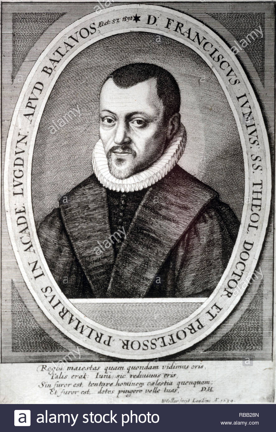 Franciscus Junius the Elder (born François du Jon, 1 May 1545 – 13 October 1602) was a Reformed scholar, Protestant reformer and theologian, etching by Bohemian etcher Wenceslaus Hollar from 1639 - Stock Image