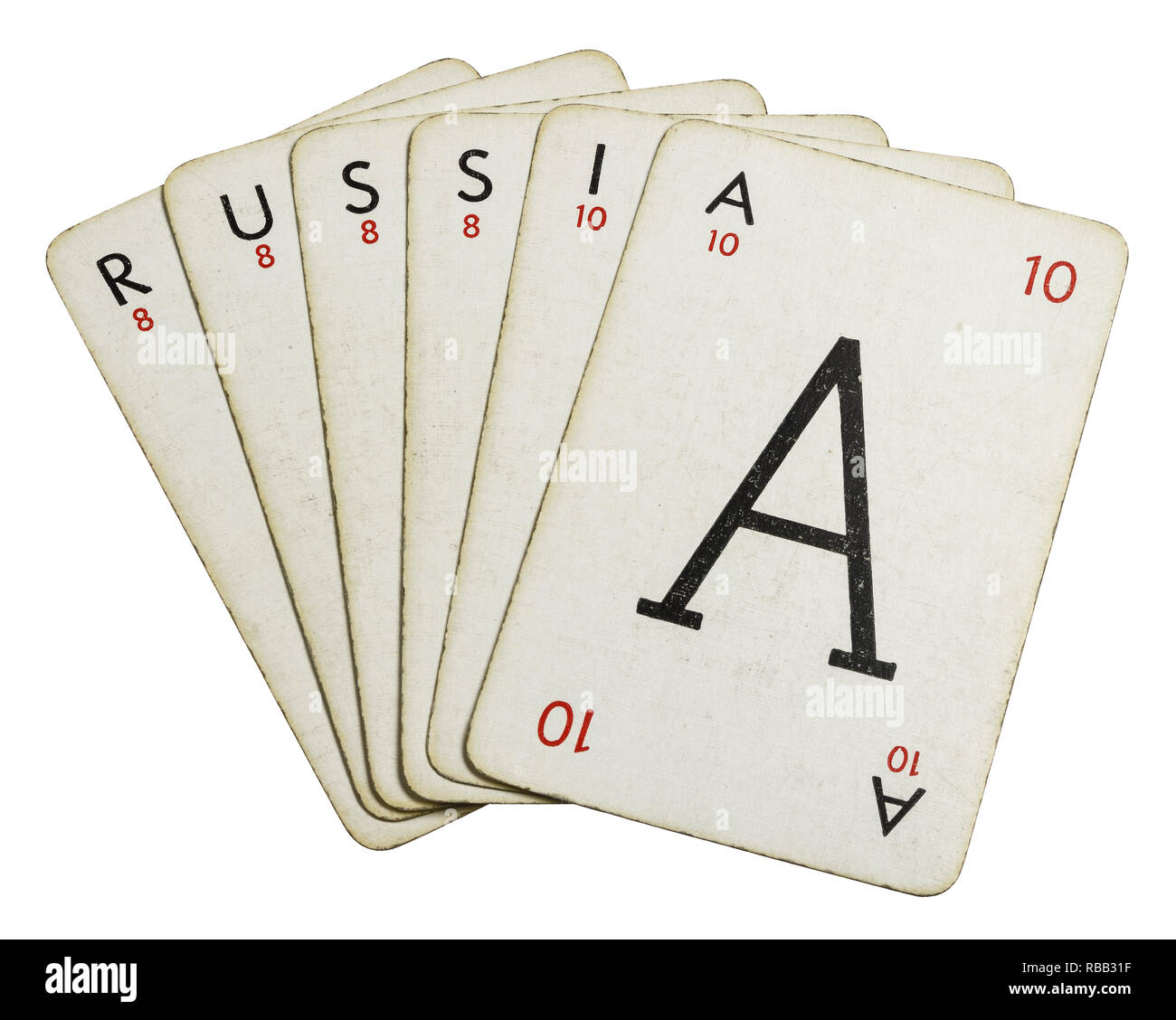 Lexicon playing cards spelling out the word Russia - Stock Image
