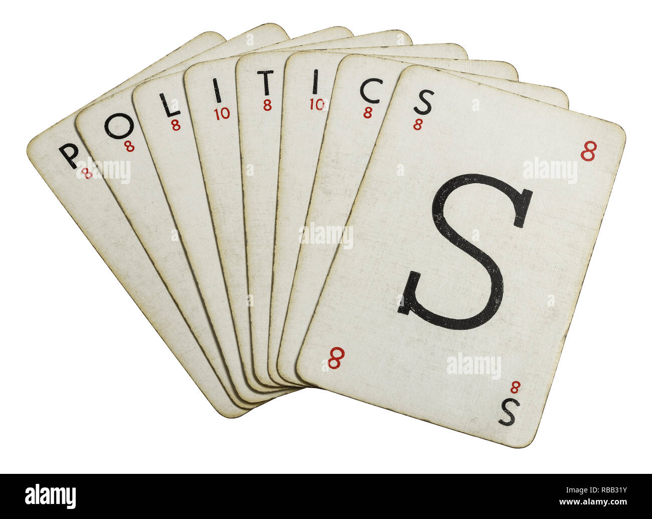 Lexicon playing cards spelling out the word Politics - Stock Image