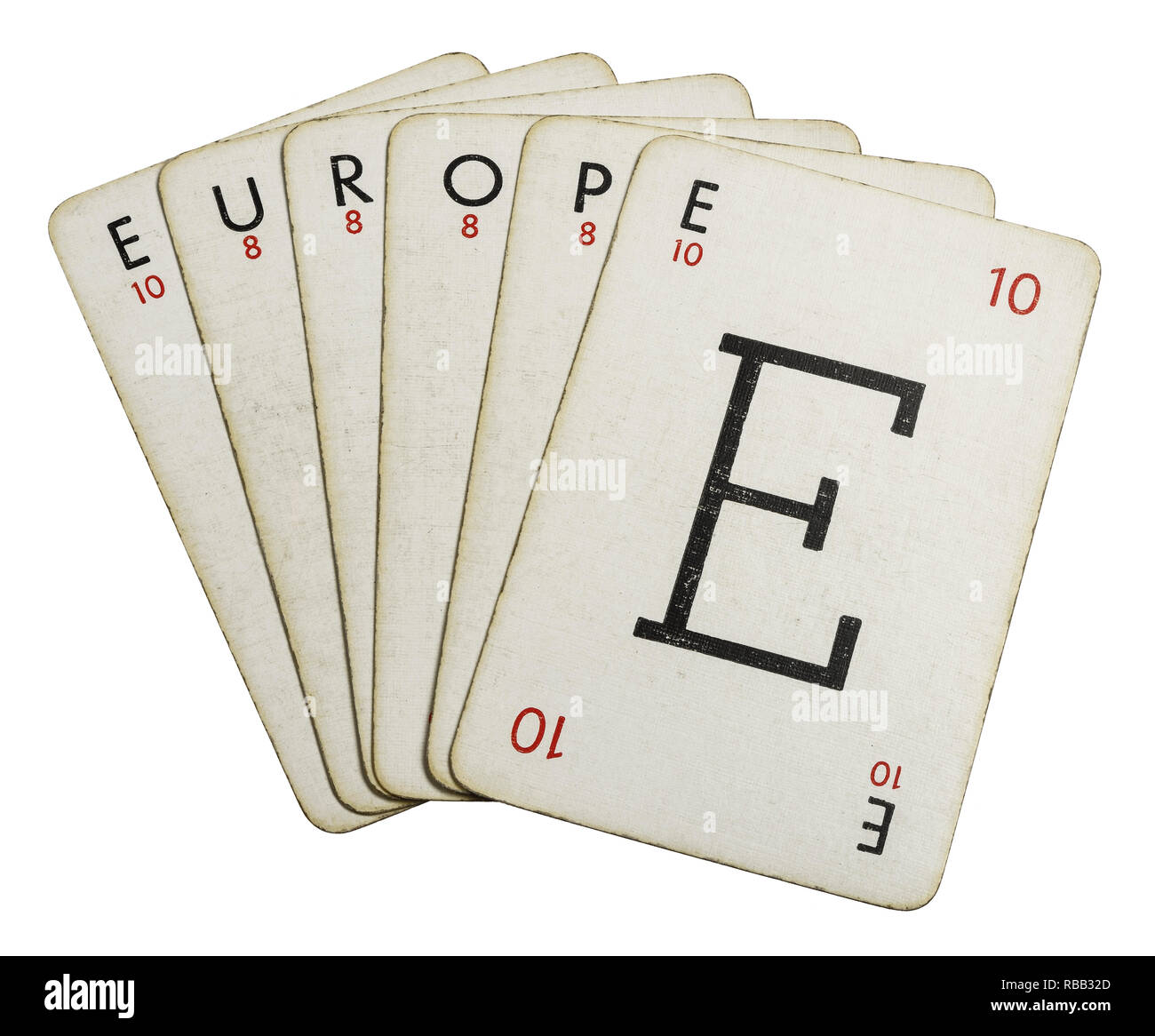 Lexicon playing cards spelling out the word Europe - Stock Image