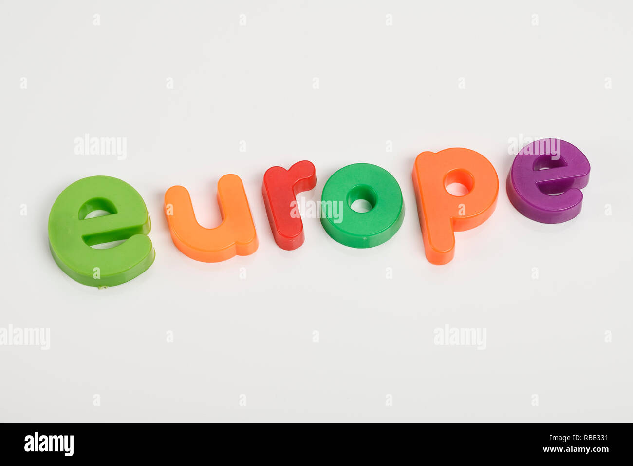 Magnetic fridge letters spelling out the word Europe - Stock Image