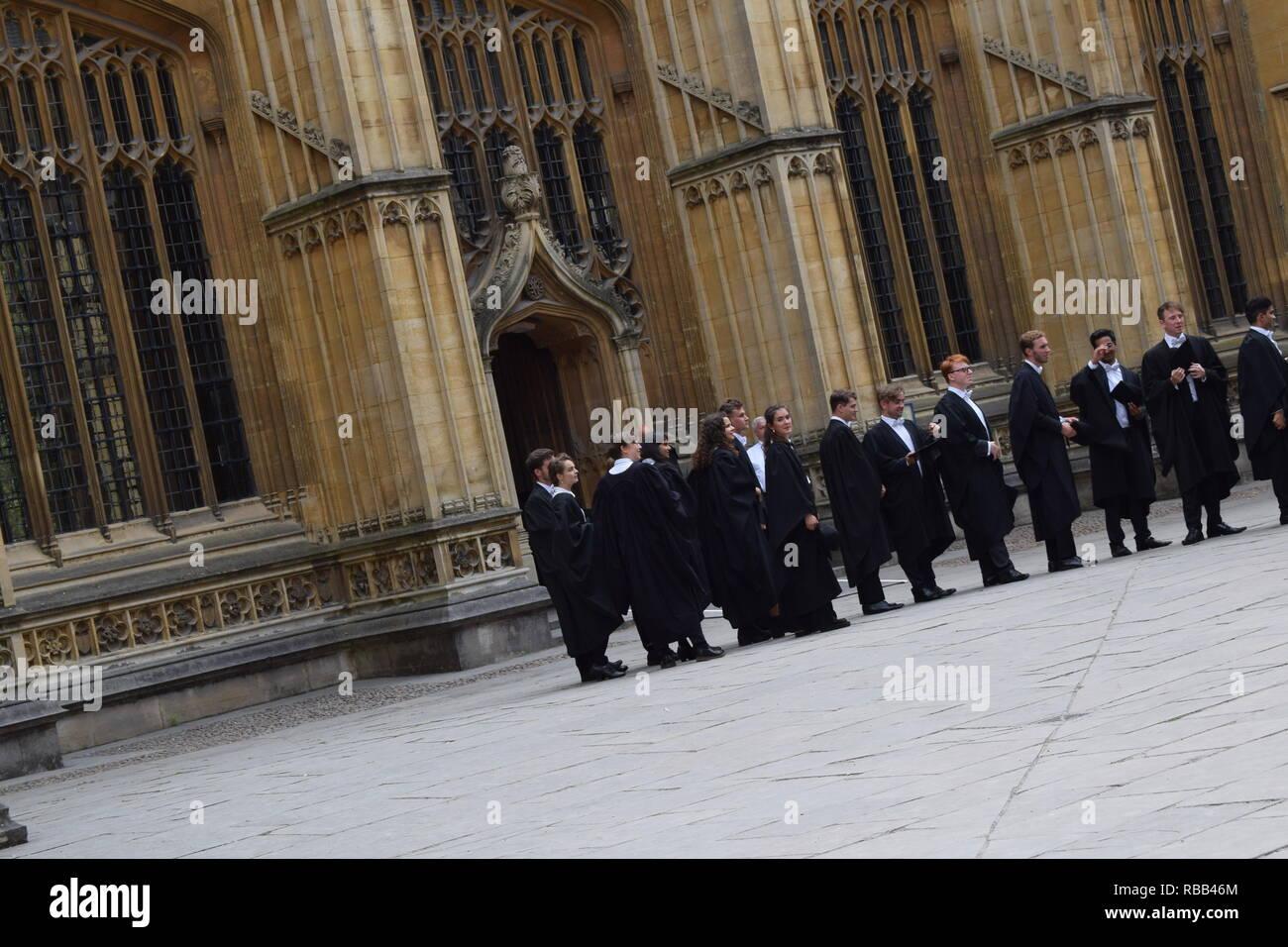 Students wait outside the Sheldonian to enter their oxford university graduation Stock Photo