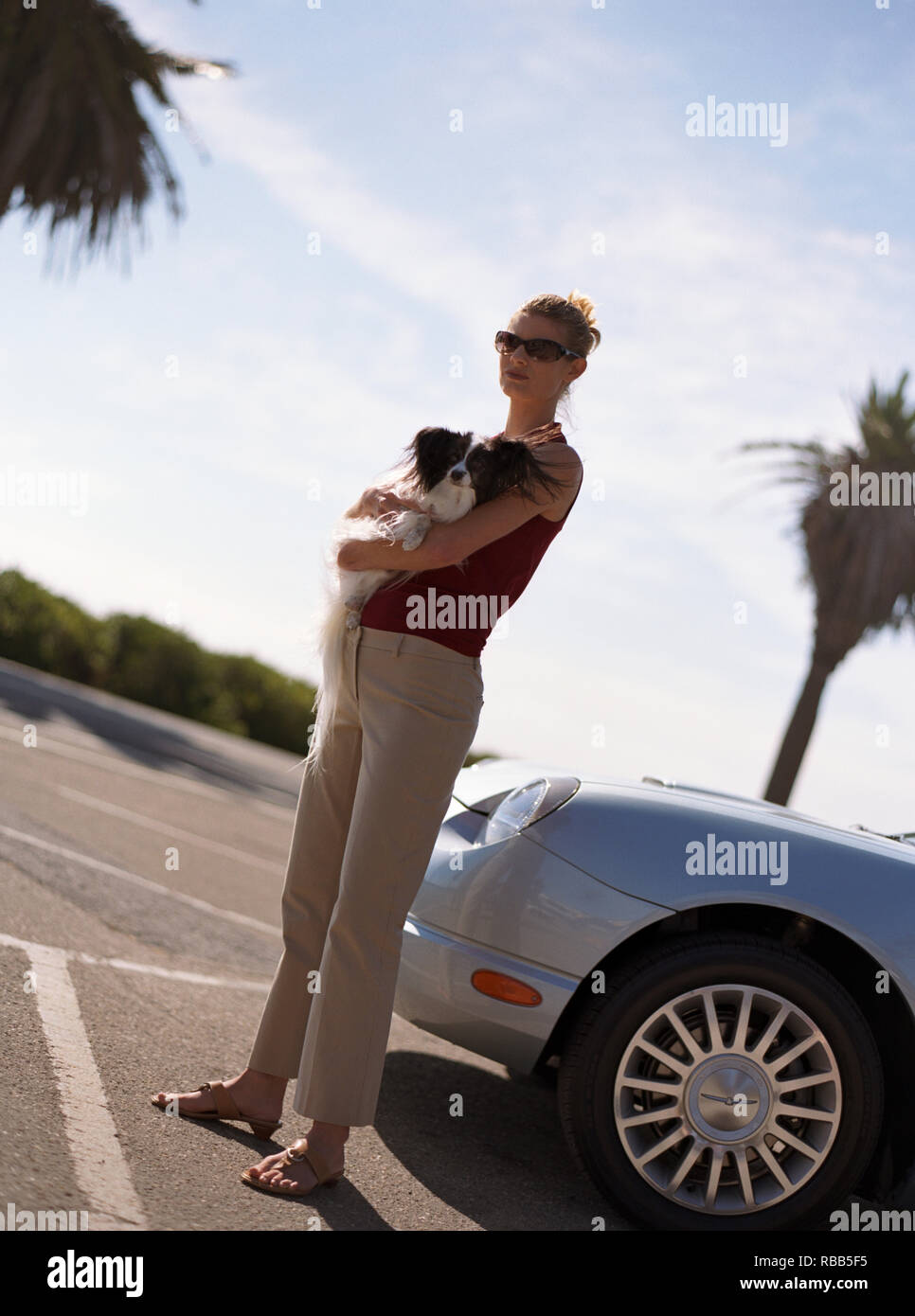 Portrait of a young woman holding a small dog while standing next to a car in a parking lot. - Stock Image