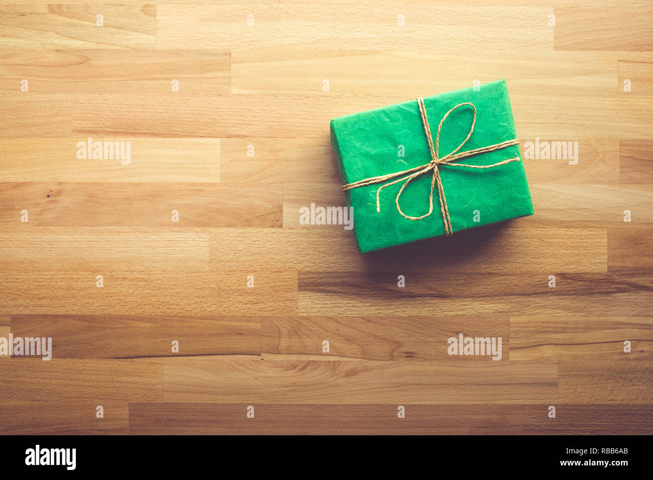 Green Gift Box On Wooden And Copy Space Backgroundchristmas New