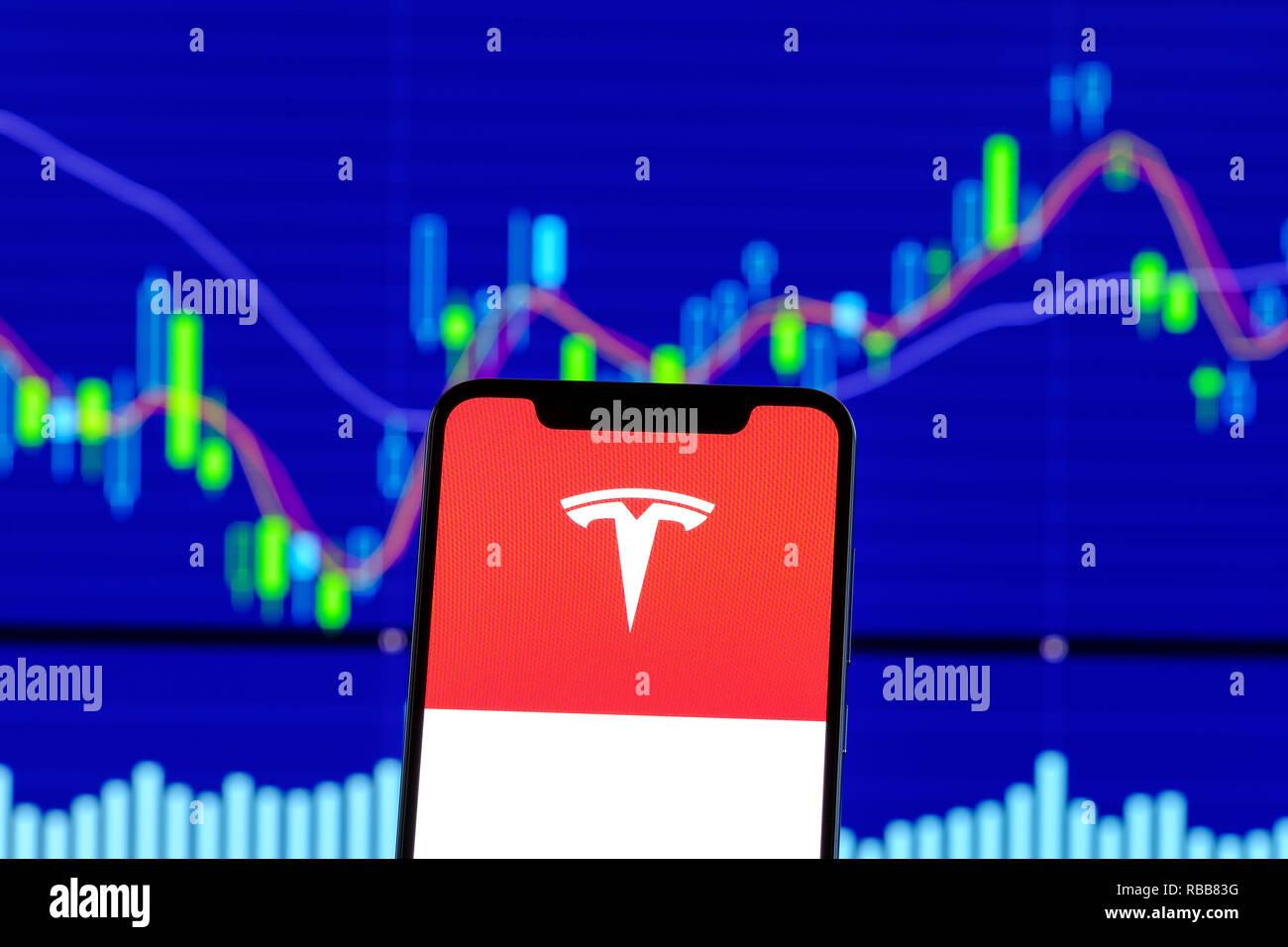 Tesla Motors logo is seen on an smartphone over stock chart