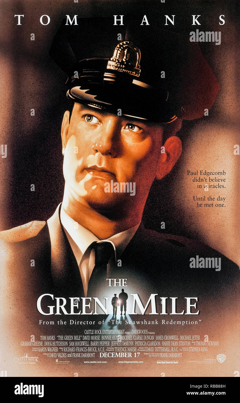 The Green Mile (1999) directed by Frank Darabont and starring Tom Hanks, Michael Clarke Duncan, David Morse and Bonnie Hunt. Prison guards on death row discover that inmate John Coffey has supernatural powers. - Stock Image