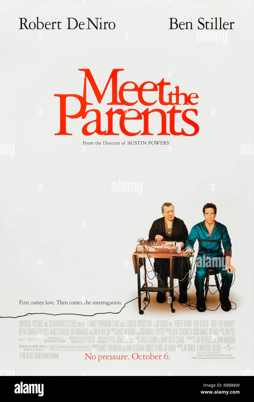 Meet the Parents (2000) directed by Jay Roach and starring Ben Stiller, Robert De Niro, Teri Polo and Owen Wilson. Greg Focker meets his girlfriend's protective and CIA trained father. - Stock Image
