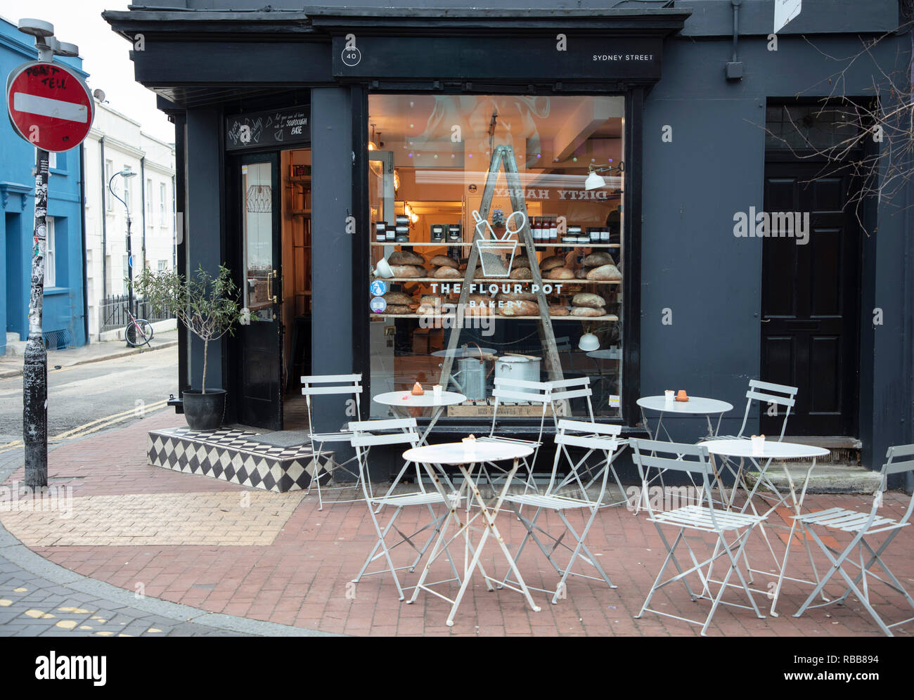 Artisan Baker Shop in Brighton North Laine with Pavement Tables and Chairs - Stock Image