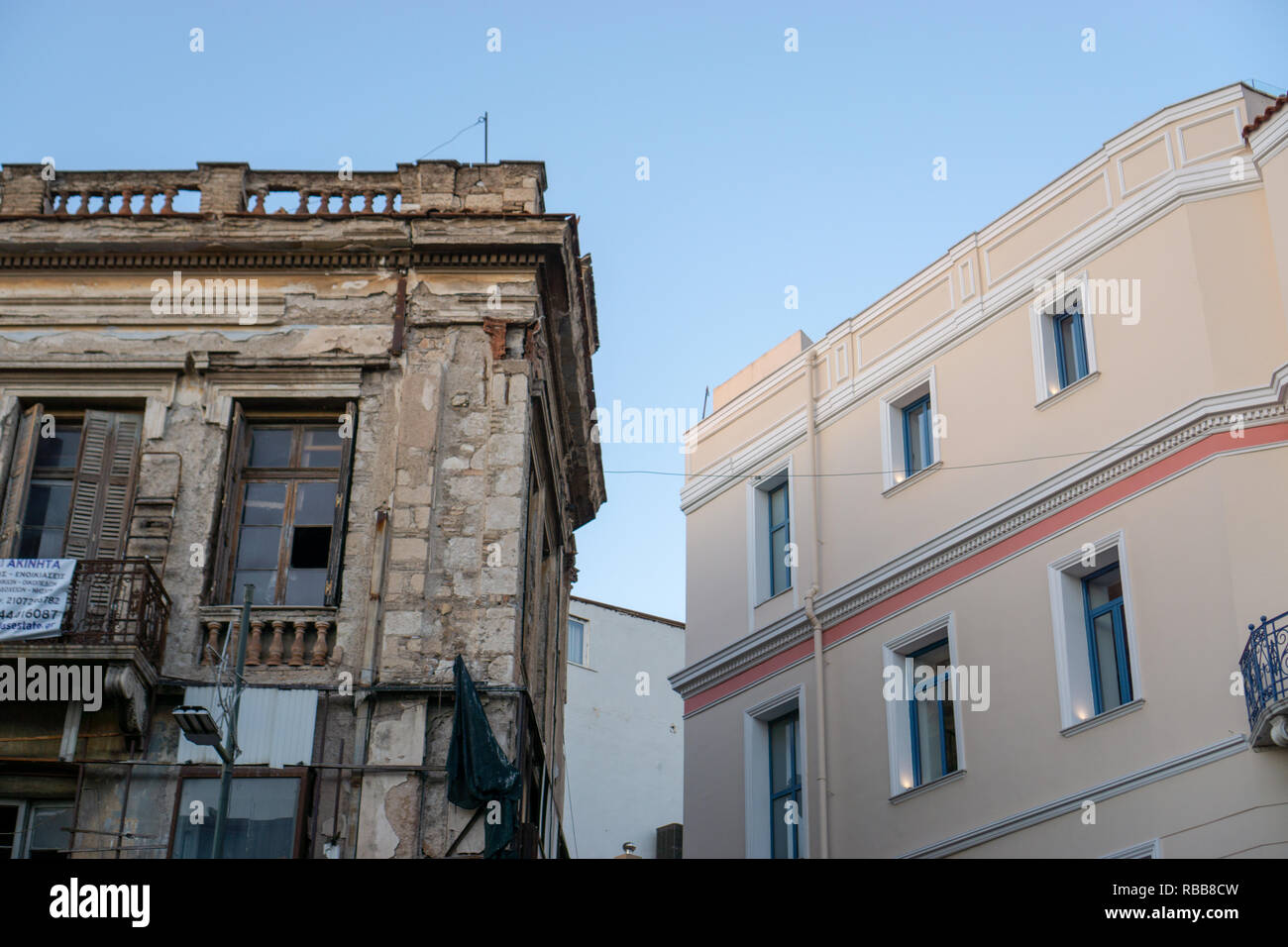 It was really sad and upsetting to see those beautiful examples of Greek historical heritage abandoned and waiting for destruction. - Stock Image