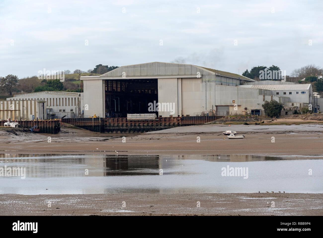 Appledore, North Devon, England UK, January 2019. Shipyard buildings. - Stock Image