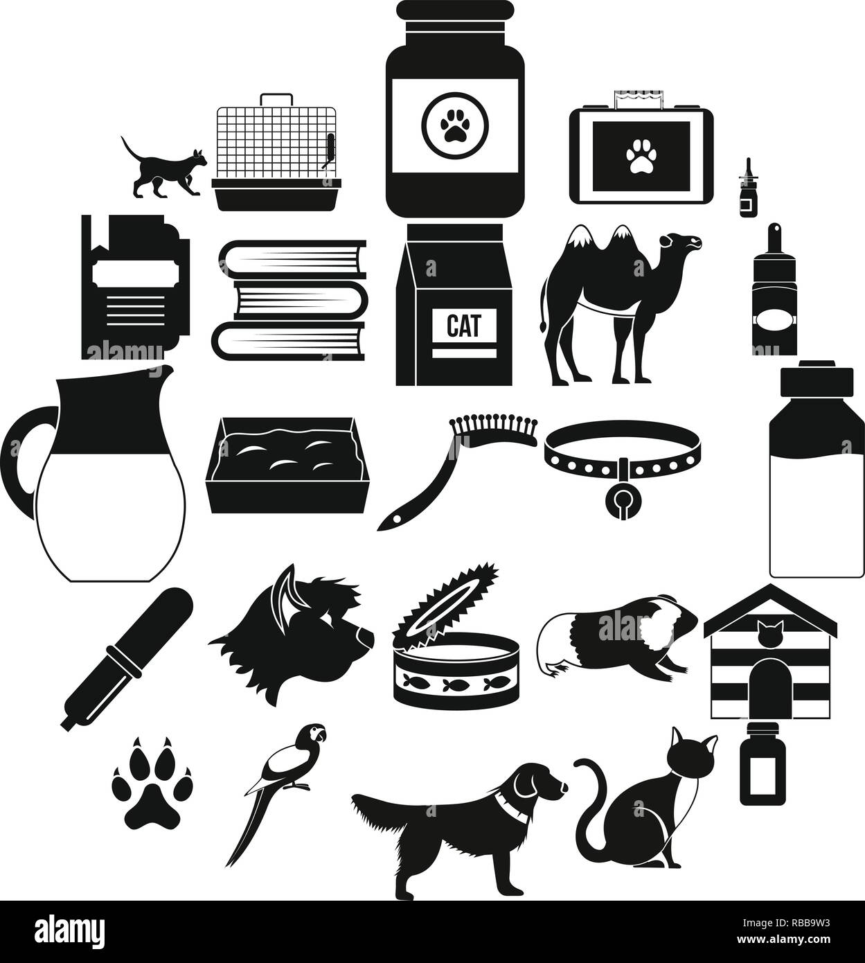 Vet icons set, simple style - Stock Vector
