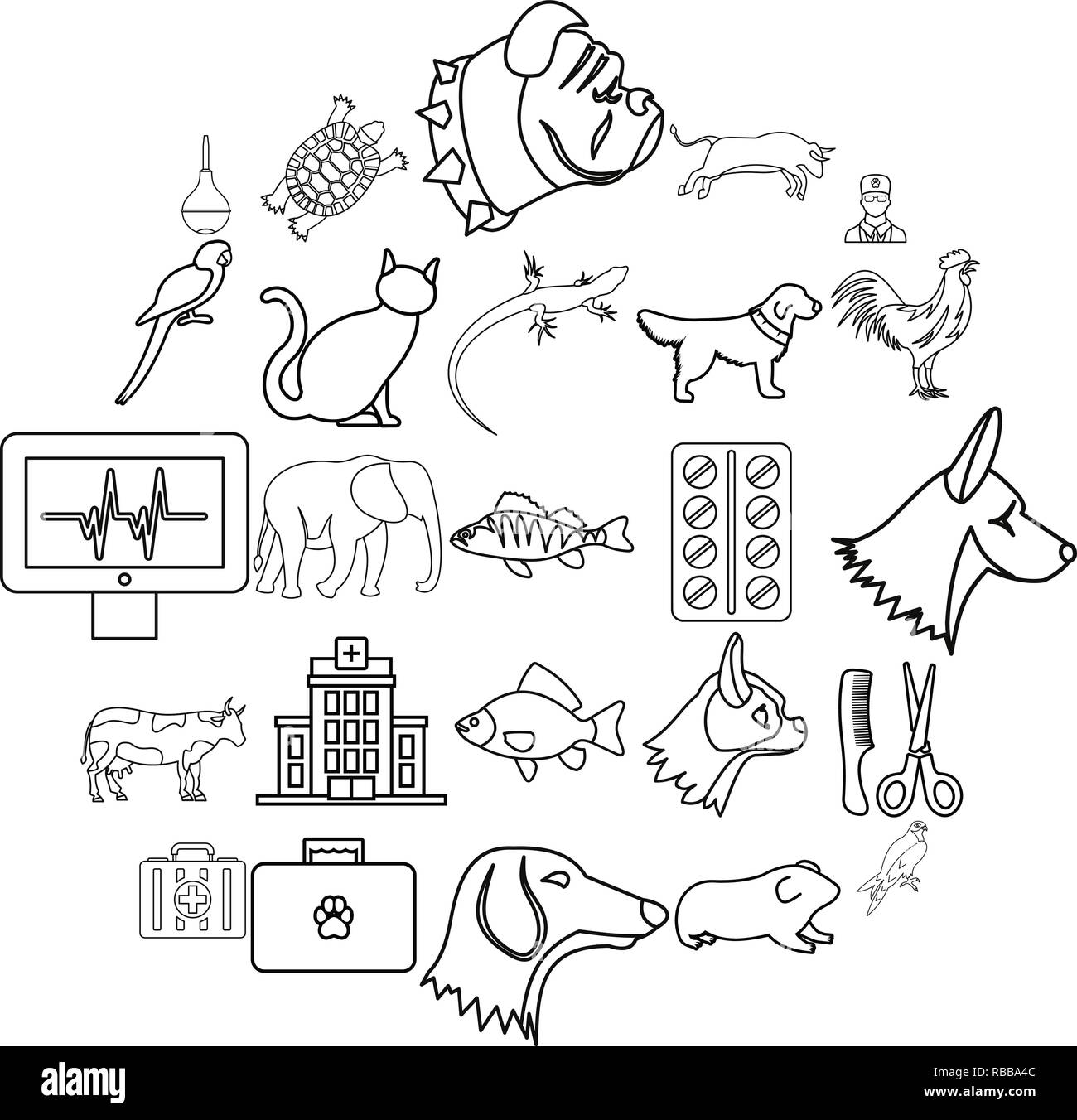 Treat the animal icons set, outline style - Stock Image