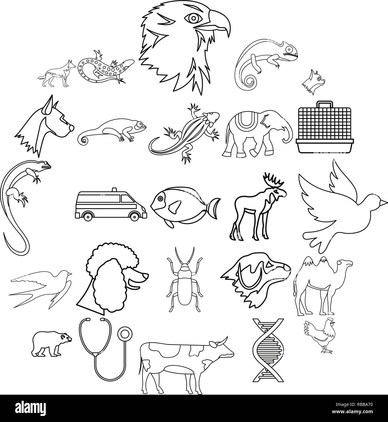 Animal care icons set, outline style - Stock Image