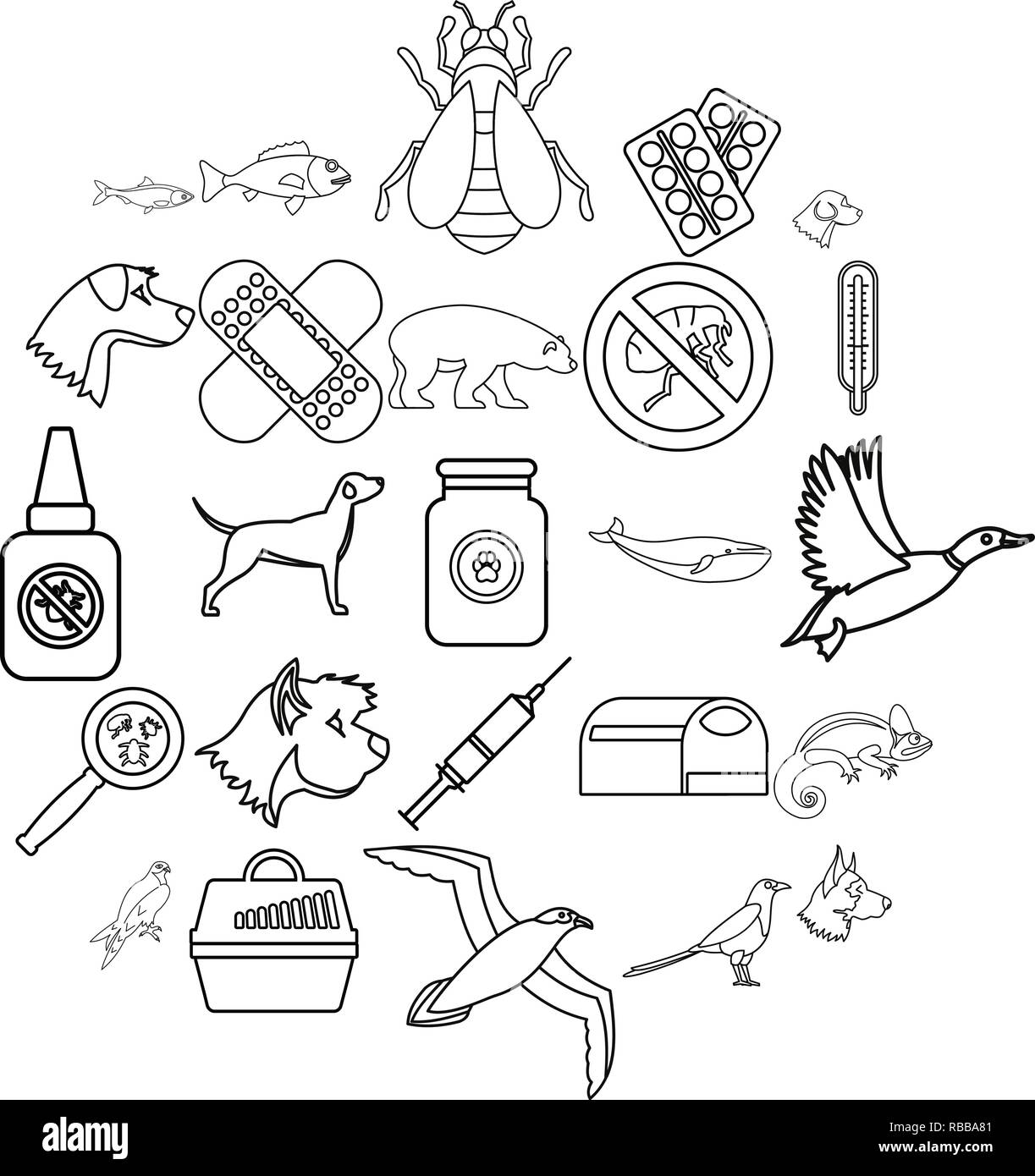 Caring for animal icons set, outline style - Stock Image