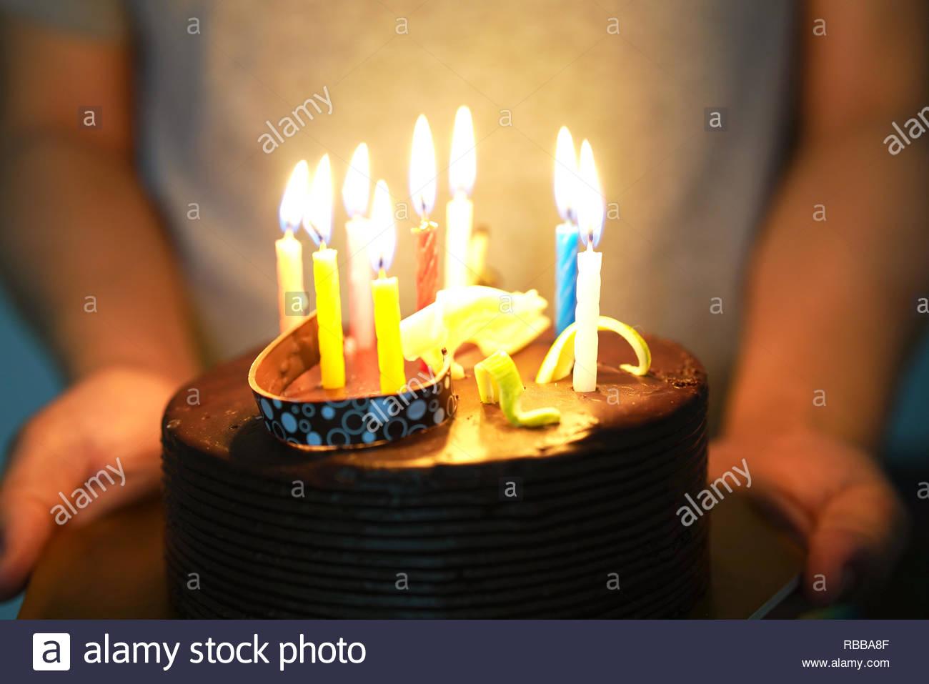 Incredible Birthday Chocolate Cake On Human Hand Stock Photo 230745551 Alamy Personalised Birthday Cards Petedlily Jamesorg