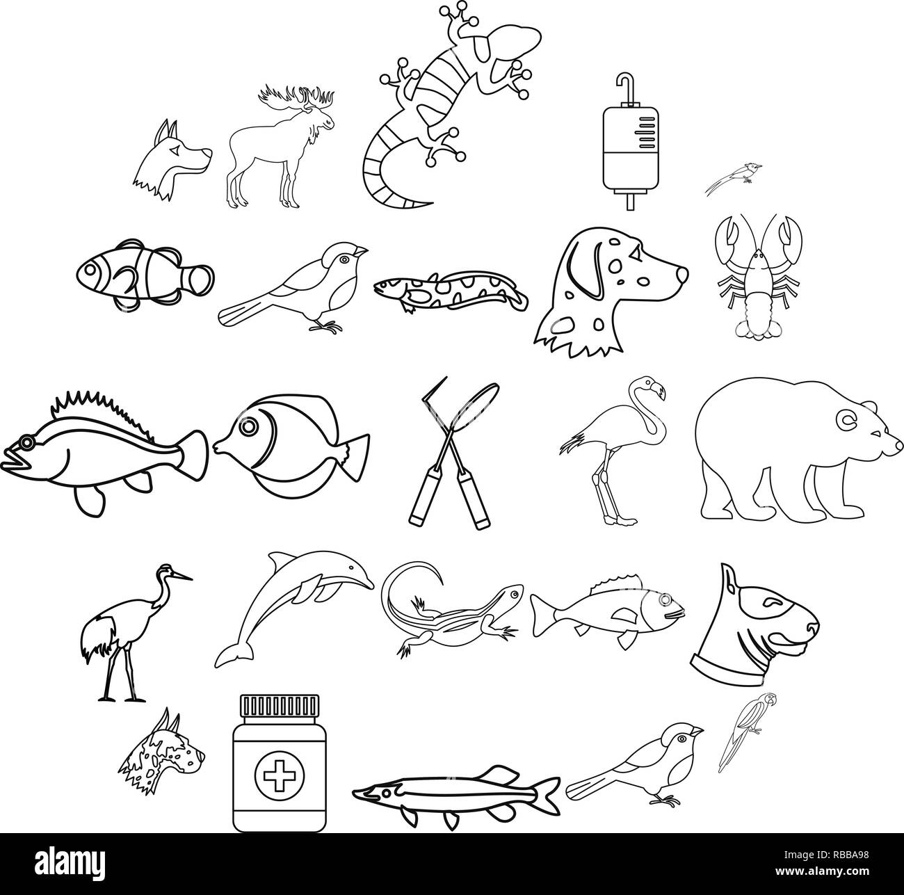 Sick animal icons set, outline style - Stock Image