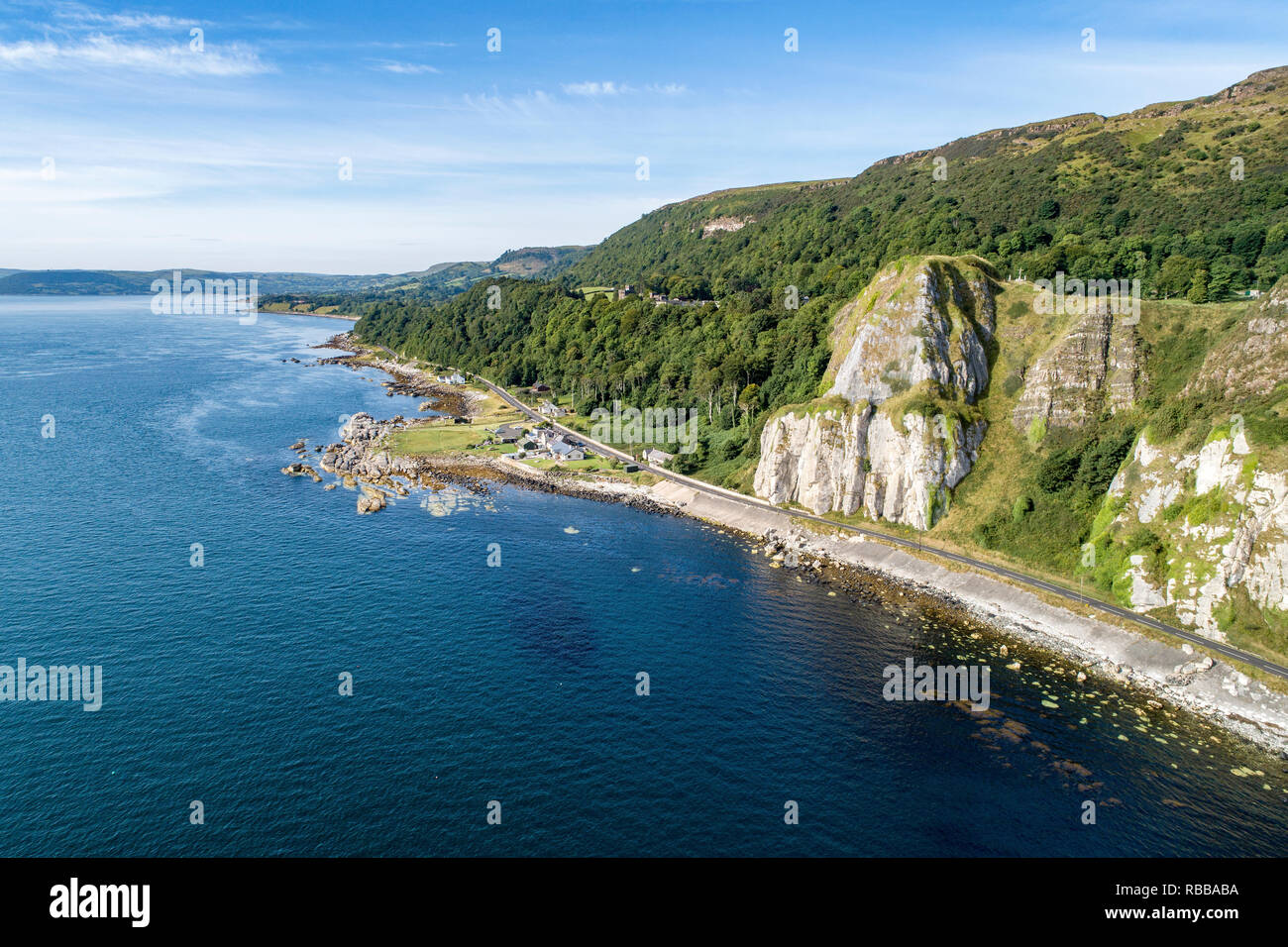 Garron Point in Northern Ireland, UK. A geological formation, parking and marina at Antrim Coast Road, a.k.a. Giants Causeway Coastal Route - Stock Image
