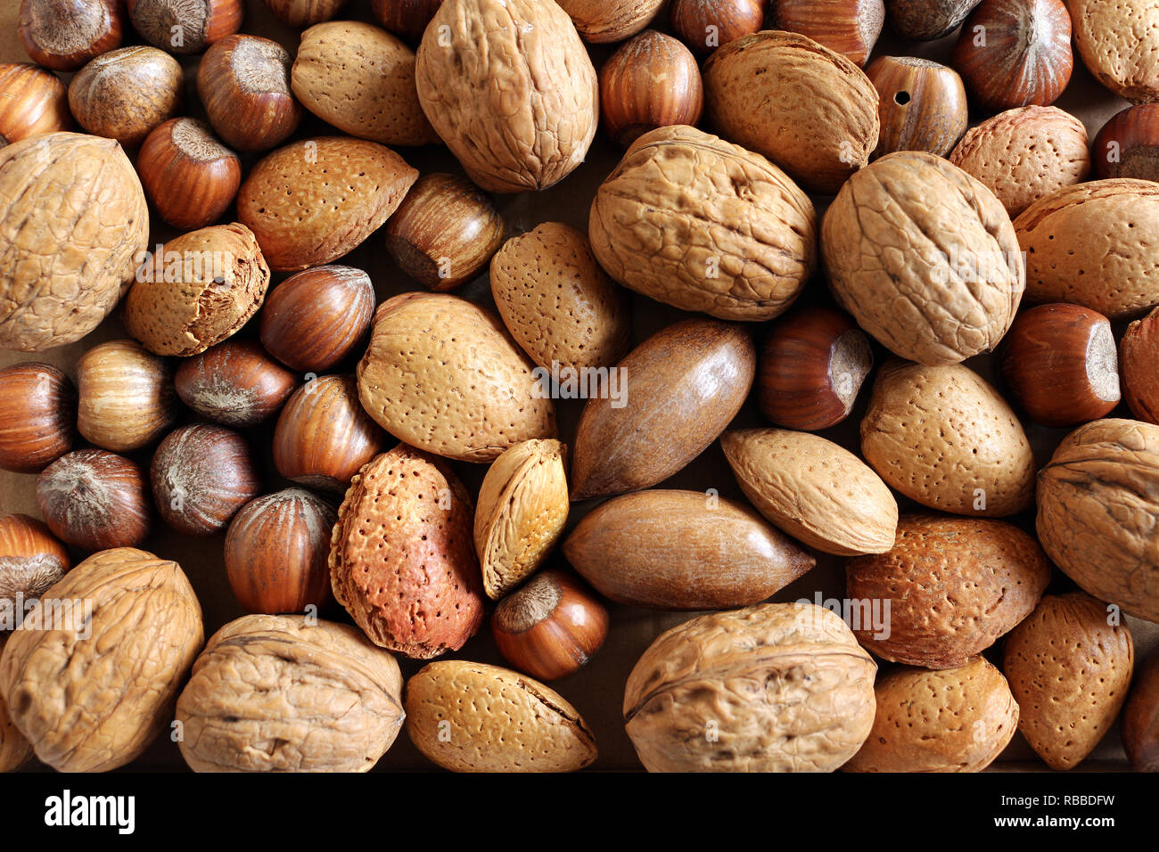 Mixed Nuts Background - Stock Image