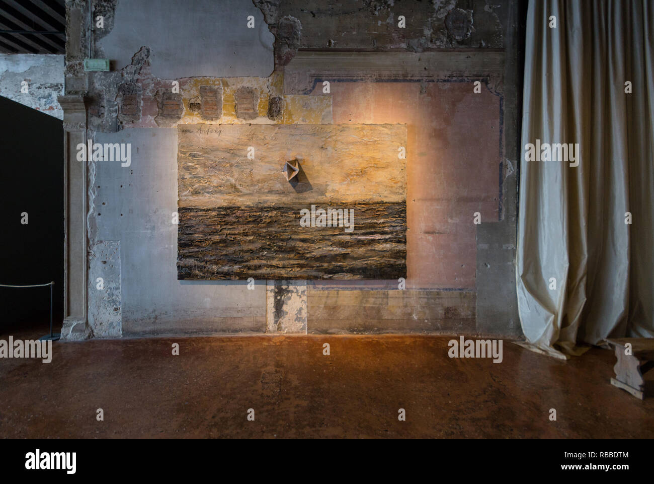 Anselm Kiefer, Am Anfang (In The Beginning), painting, 2003 - Palazzo Fortuny museum, Venice, Futuruins exhibition, 2019 - Stock Image