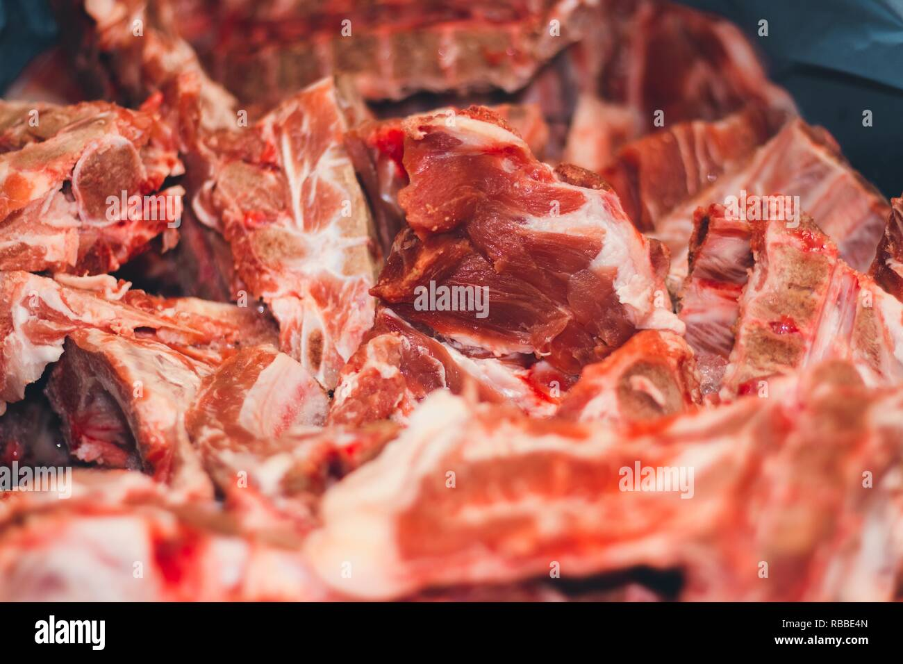 Juicy slices of fresh red pork meat  Meat is made from animals from