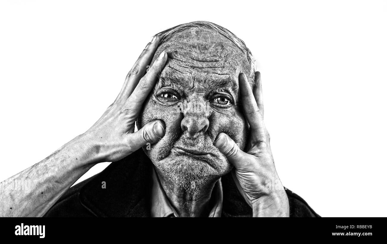 old man portrait with funny face - Stock Image
