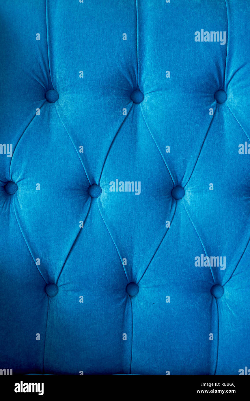 Texture,classic Blue Sofa Upholstery With Light Fabric Buttons Stock Photo - Alamy