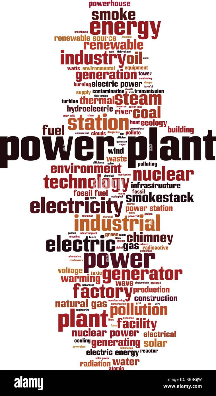 Power plant word cloud concept. Vector illustration - Stock Image