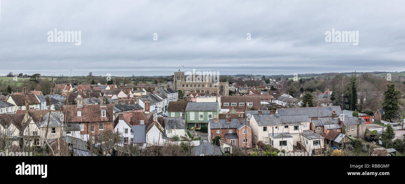 Clare, Suffolk. A panorama of this market town on the north bank of the River Stour in Suffolk, England.  A historic 'thread town'. - Stock Image