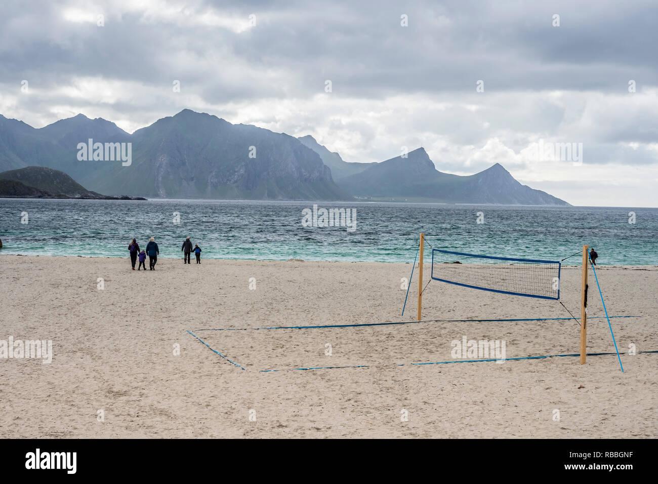 Hauklandstranda, Haukland beach,  sandy beach, volleyball net, beachvolleyball, island Vestvagöy, Lofoten, Norway - Stock Image