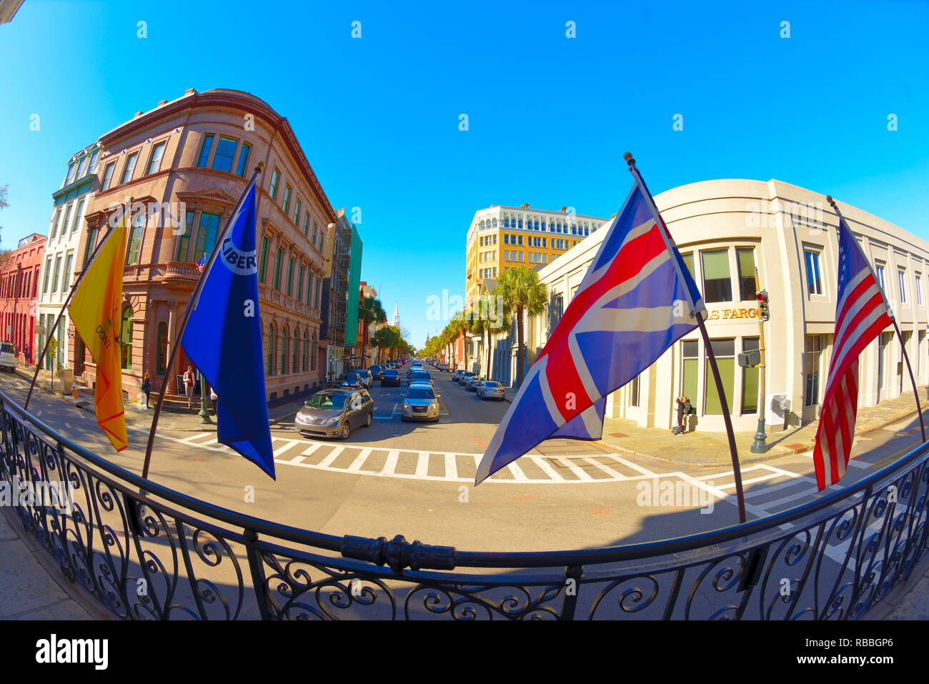 Colonial Era Exchange Building When Charleston was a British Colony with  Flags that Flew over the Building as Time Progressed - Stock Image