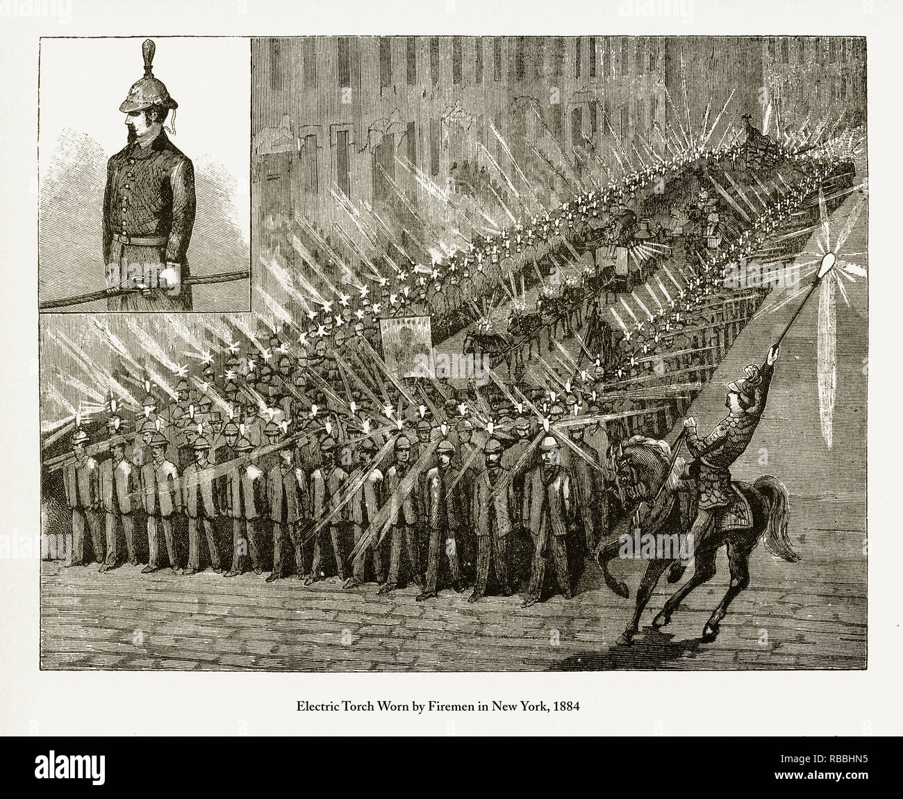Electric Torch Worn by Firemen in New York Engraving - Stock Image