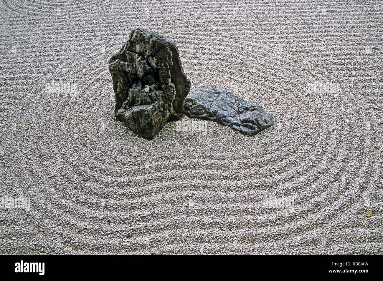 Japanese Stone Garden In Kyoto Japan