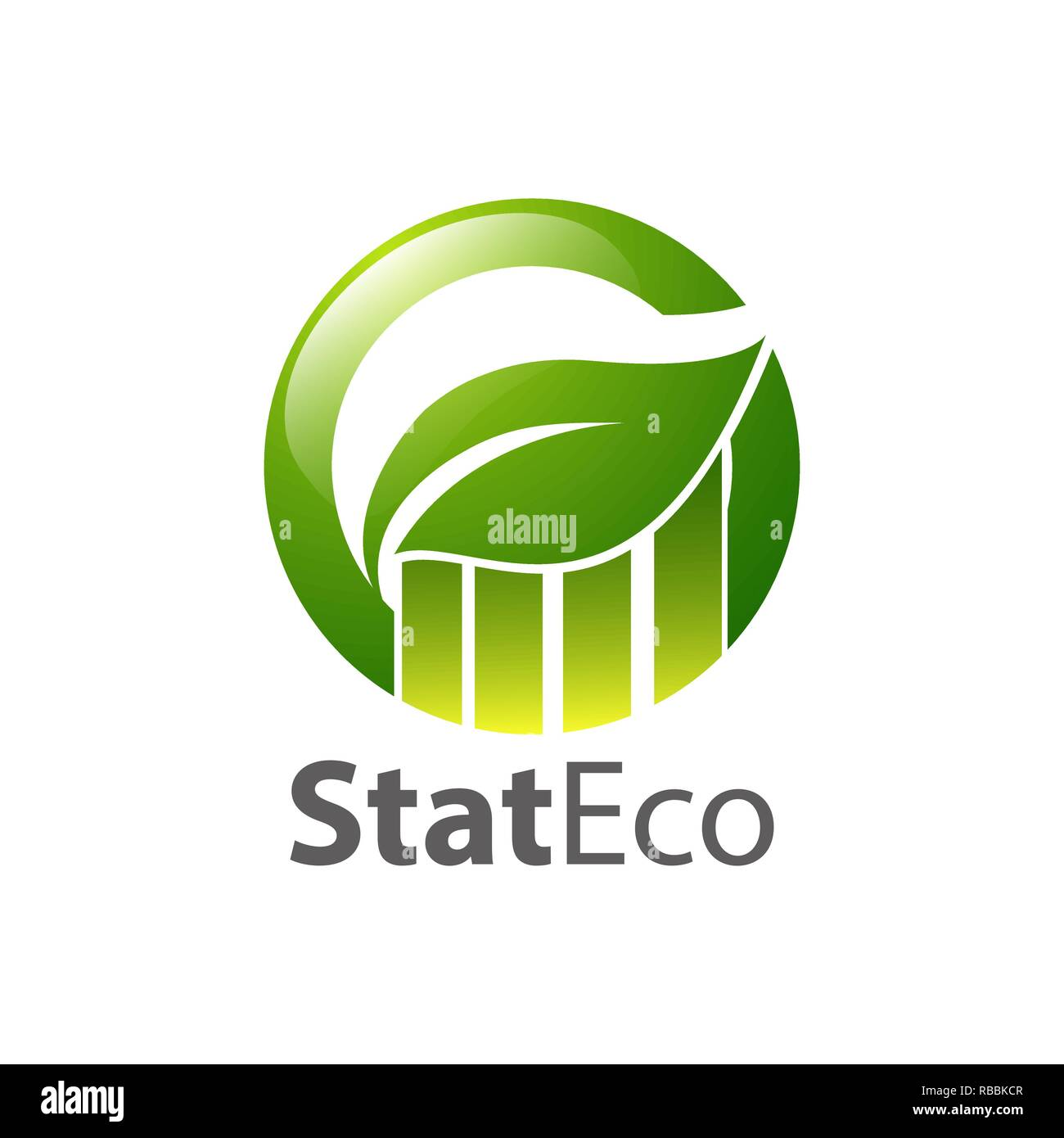 Graph circle green leaf logo concept design template idea - Stock Vector