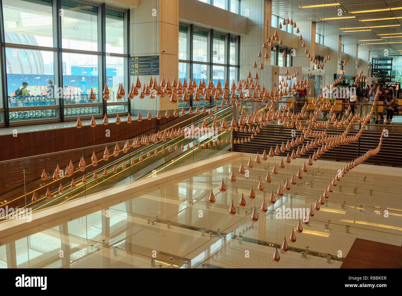 Kinetic Rain Art Sculpture at Singapore Changi Airport. - Stock Image
