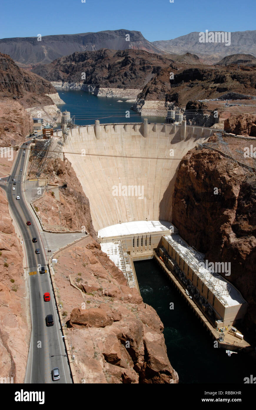 Vertical image showing the Hoover Dam and a portion of Lake Mead at the Arizona-Nevada border. The civil engineering landmark was dedicated in 1935. - Stock Image