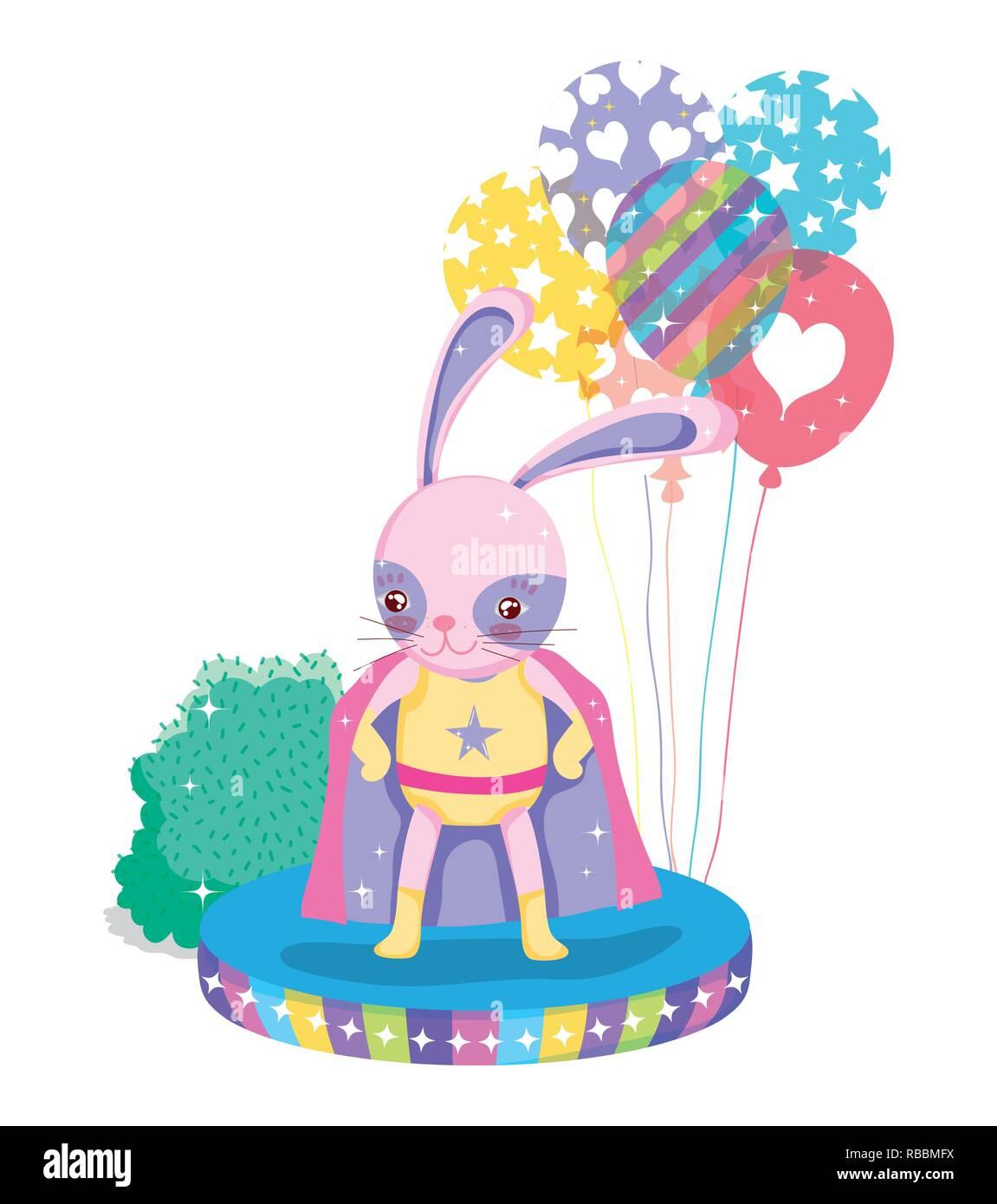rabbit hero costume with balloons to circus show - Stock Image