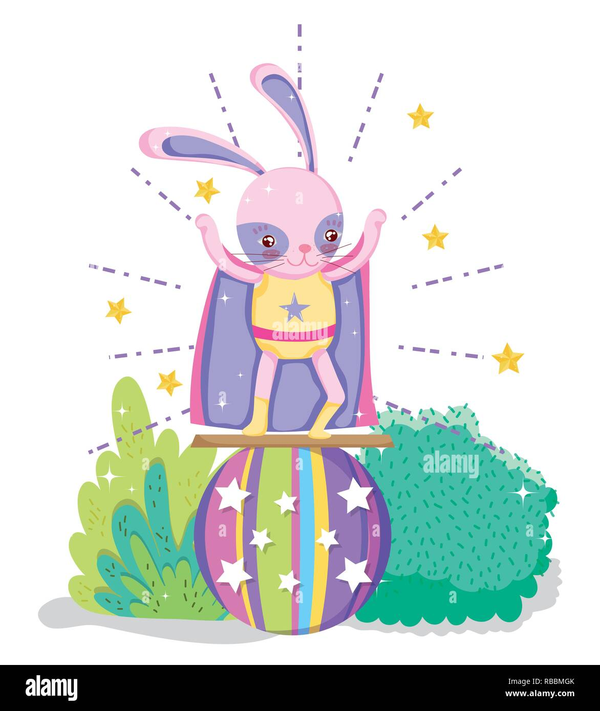 rabbit hero costume in the ball to show - Stock Vector